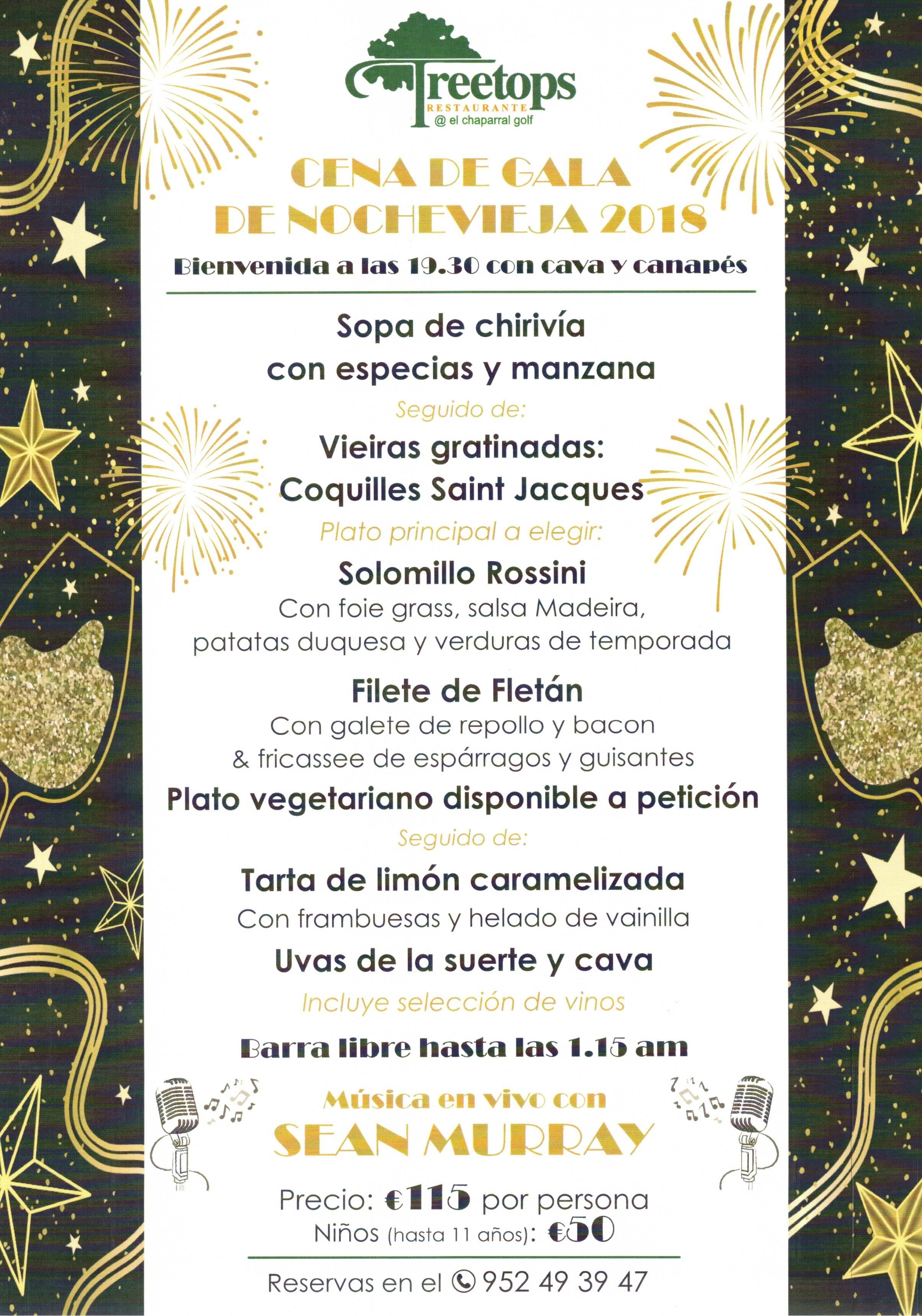 CENA DE NOCHEVIEJA 2018 CHAPARRAL GOLF CLUB, MIJAS, COSTA DEL SOL